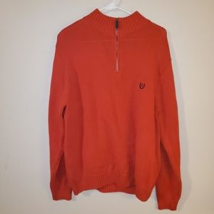 Chaps Orange Knit Quarter Zip Collared Sweater